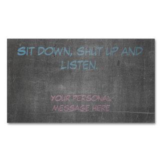 Siéntese, cierre para arriba y escuche tarjetas de visita magnéticas (paquete de 25)