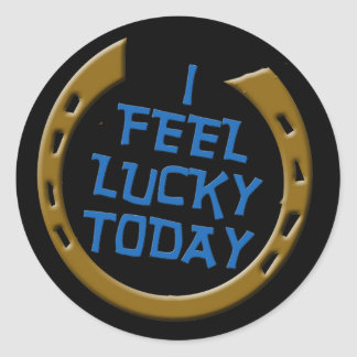 Siento afortunado hoy pegatina redonda