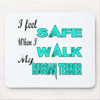 Siento seguro con mi Terrier ruso Mouse Pads
