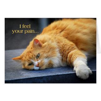 Siento su dolor -- Gato pronto anaranjado del Tarjeta De Felicitación