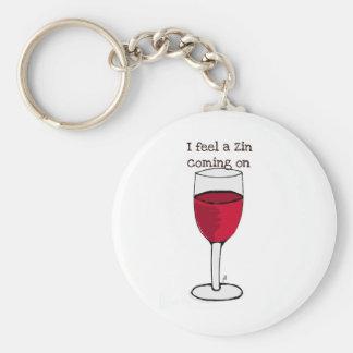 SIENTO UN ZIN el VENIR EN… la impresión del vino Llavero Redondo Tipo Pin
