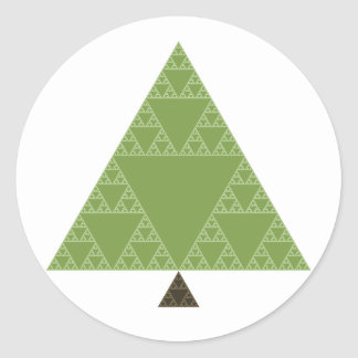Sierpinski Triangle Tree Classic Round Sticker