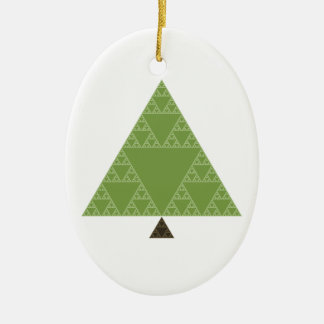 Sierpinski Triangle Tree Double-Sided Oval Ceramic Christmas Ornament