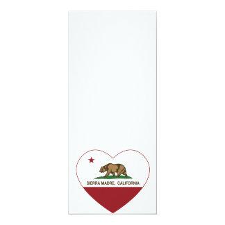 """sierra corazón de la bandera de California del Invitación 4"""" X 9.25"""""""