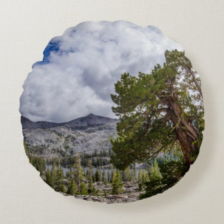 Sierra Juniper and Evergreen Trees Round Pillow
