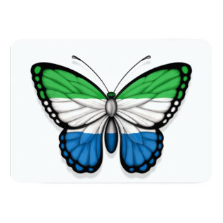 Sierra Leone Butterfly Flag 5x7 Paper Invitation Card
