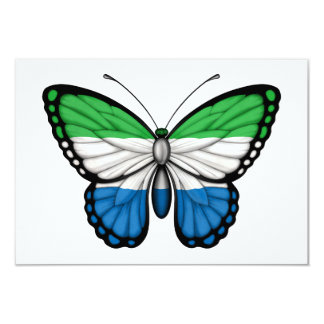 Sierra Leone Butterfly Flag 3.5x5 Paper Invitation Card