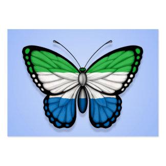 Sierra Leone Butterfly Flag on Blue Business Card