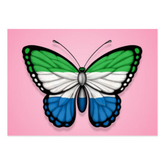 Sierra Leone Butterfly Flag on Pink Business Card Templates