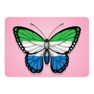 Sierra Leone Butterfly Flag on Pink 5x7 Paper Invitation Card