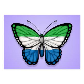 Sierra Leone Butterfly Flag on Purple Business Card Template