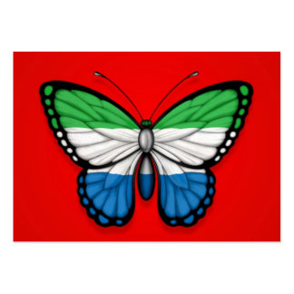 Sierra Leone Butterfly Flag on Red Business Cards
