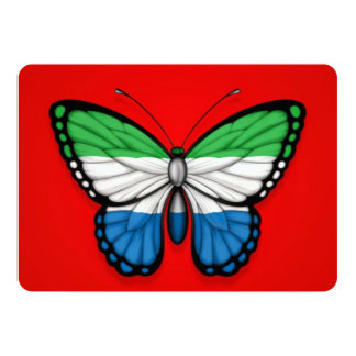Sierra Leone Butterfly Flag on Red Card