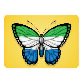Sierra Leone Butterfly Flag on Yellow 5x7 Paper Invitation Card