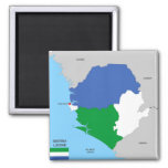 sierra leone country political map flag 2 inch square magnet