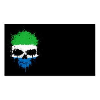 Sierra Leone Dripping Splatter Skull Business Cards