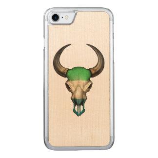 Sierra Leone Flag Bull Skull Carved iPhone 7 Case