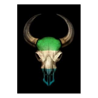 Sierra Leone Flag Bull Skull on Black Business Cards