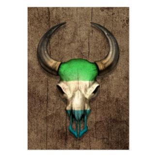 Sierra Leone Flag Bull Skull on Wood Effect Business Card