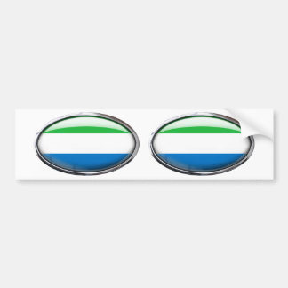Sierra Leone Flag Glass Oval Bumper Sticker