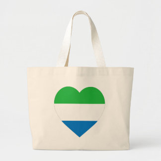 Sierra Leone Flag Heart Large Tote Bag