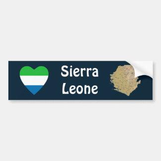 Sierra Leone Flag Heart + Map Bumper Sticker Car Bumper Sticker
