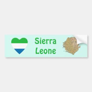Sierra Leone Flag Heart + Map Bumper Sticker