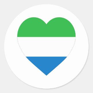 Sierra Leone Flag Heart Round Sticker