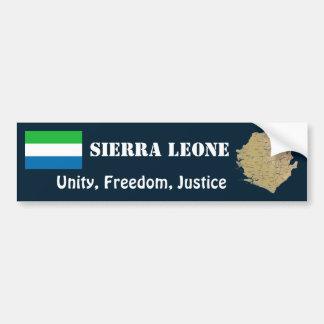 Sierra Leone Flag + Map Bumper Sticker Car Bumper Sticker