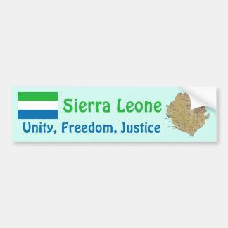 Sierra Leone Flag + Map Bumper Sticker