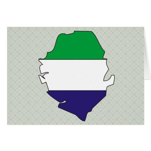 Sierra Leone Flag Map full size Greeting Card