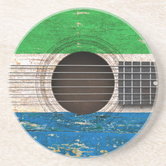 Sierra Leone Flag on Old Acoustic Guitar Drink Coaster