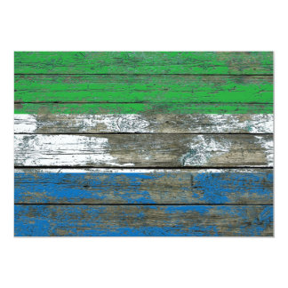Sierra Leone Flag on Rough Wood Boards Effect Card