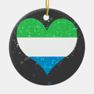 Sierra Leone Flag Shining Unique Double-Sided Ceramic Round Christmas Ornament