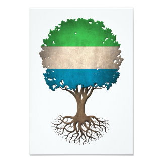 Sierra Leone Flag Tree of Life Customizable 3.5x5 Paper Invitation Card
