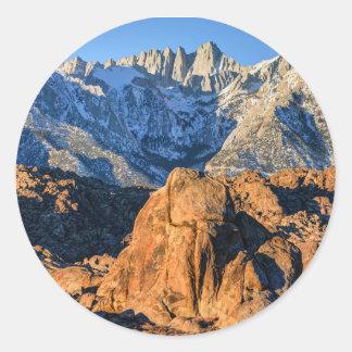 Sierra Nevada Mountains And Alabama Hills Sunrise Classic Round Sticker