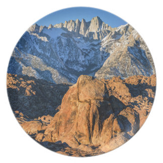 Sierra Nevada Mountains And Alabama Hills Sunrise Dinner Plate