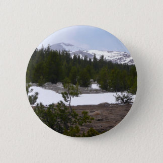 Sierra Nevada Mountains and Snow at Yosemite Pinback Button