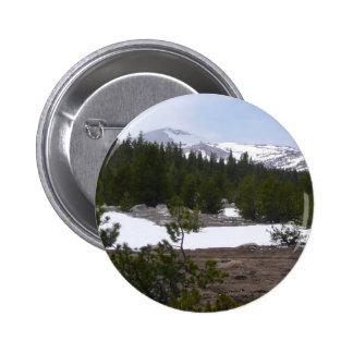 Sierra Nevada Mountains and Snow at Yosemite Pinback Button