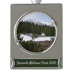 Sierra Nevada Mountains and Snow at Yosemite Silver Plated Banner Ornament