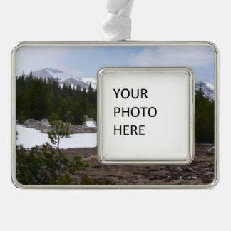 Sierra Nevada Mountains and Snow at Yosemite Silver Plated Framed Ornament
