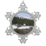 Sierra Nevada Mountains and Snow at Yosemite Snowflake Pewter Christmas Ornament