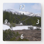 Sierra Nevada Mountains and Snow at Yosemite Square Wall Clock