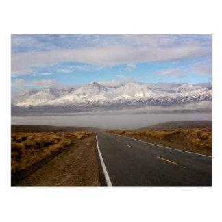 Sierra Nevada Mountains, Big Pine, CA in fog Postcard