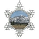 Sierra Nevada Mountains I from Yosemite Snowflake Pewter Christmas Ornament