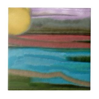 Sierra Sunrise Abstract Art Tile