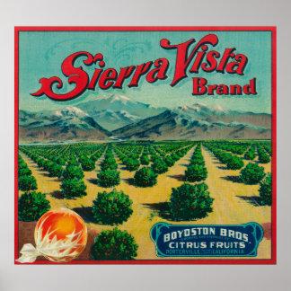 Sierra Vista Brand Citrus Crate Label Poster