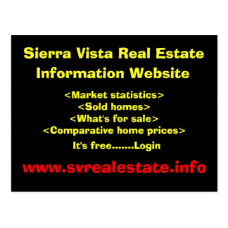 Sierra Vista Real Estate, Information Website, ... Postcard