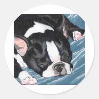 Siesta de Boston Terrier Pegatina Redonda
