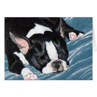 Siesta de Boston Terrier Tarjeta De Felicitación